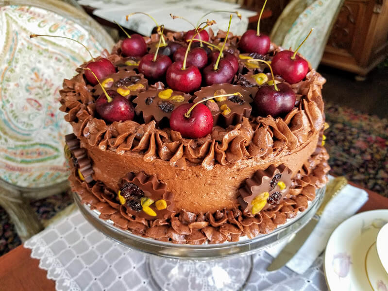 Chocolate-cake-with-chocolate-cherry-frosting-and-blackberry-filling-Buffalo-Harmony-House